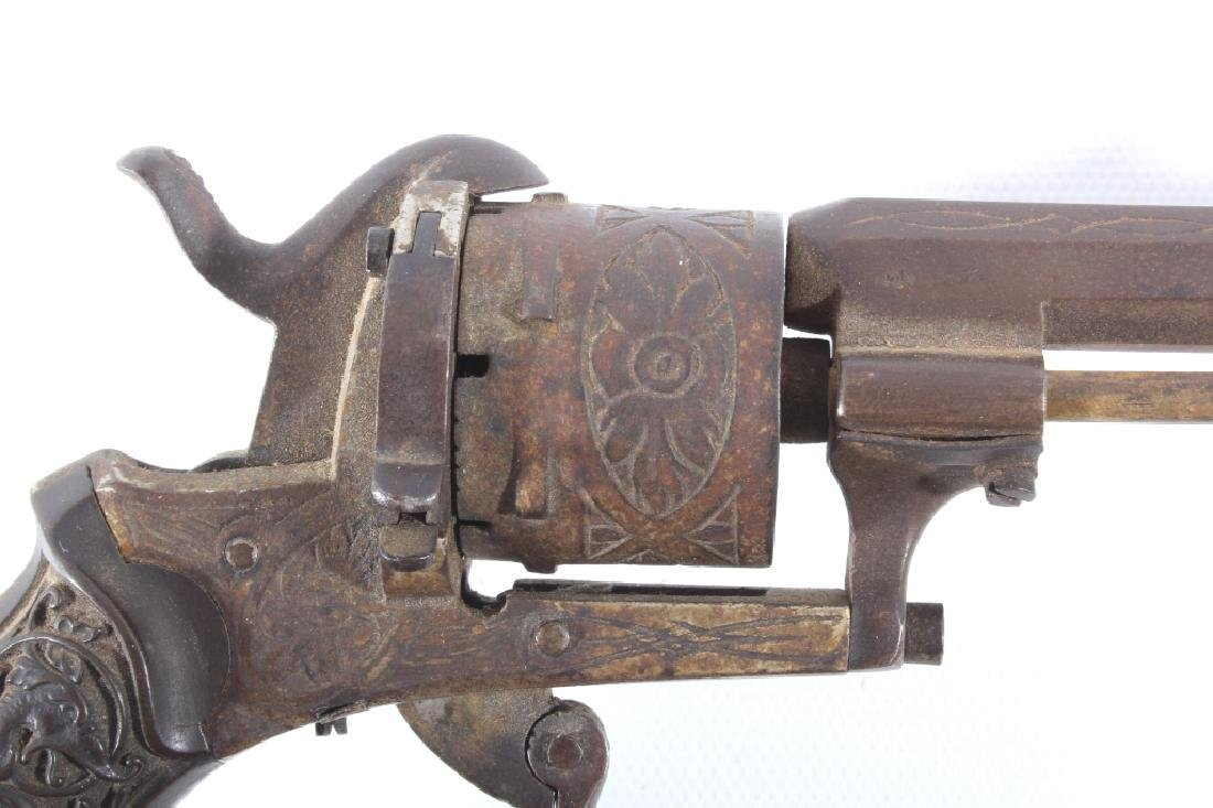 Engraved Belgium Folding 7mm Pinfire Revolver - 3