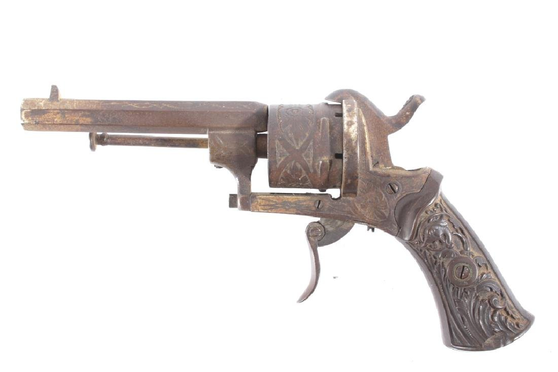 Engraved Belgium Folding 7mm Pinfire Revolver - 5