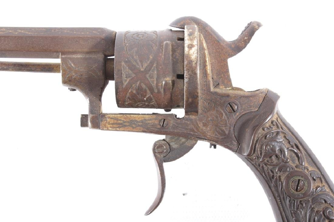 Engraved Belgium Folding 7mm Pinfire Revolver - 7