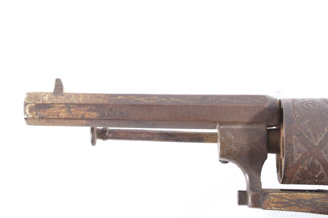 Engraved Belgium Folding 7mm Pinfire Revolver - 8