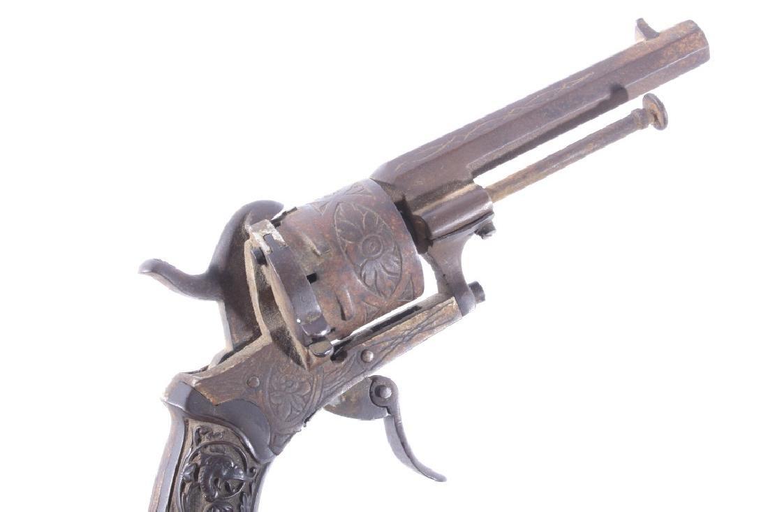 Engraved Belgium Folding 7mm Pinfire Revolver - 9