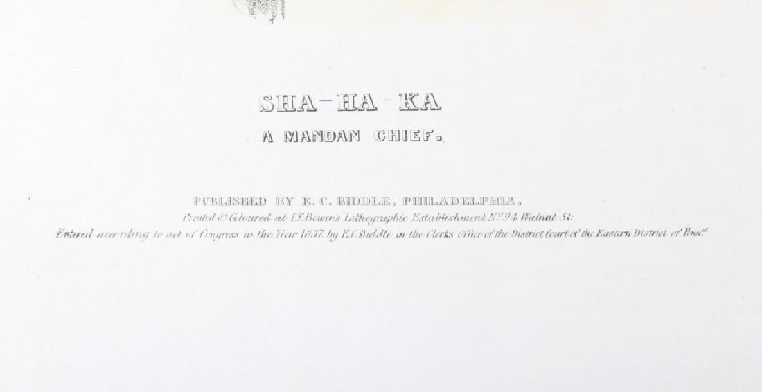 Early Sha-Ha-Ka A Mandan Chief Lithograph 1837 - 3
