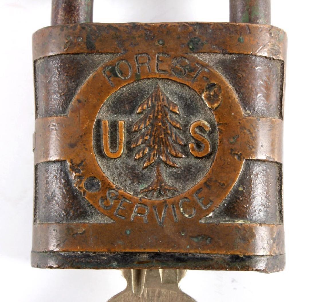 U.S. Forest Service Pine Tree Logo Padlock 1930's - 3