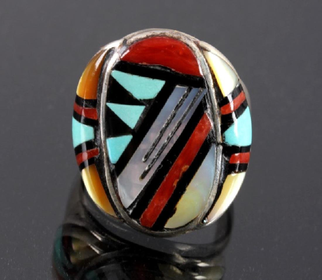 Signed Zuni Sterling Silver Turquoise Mosaic RIng