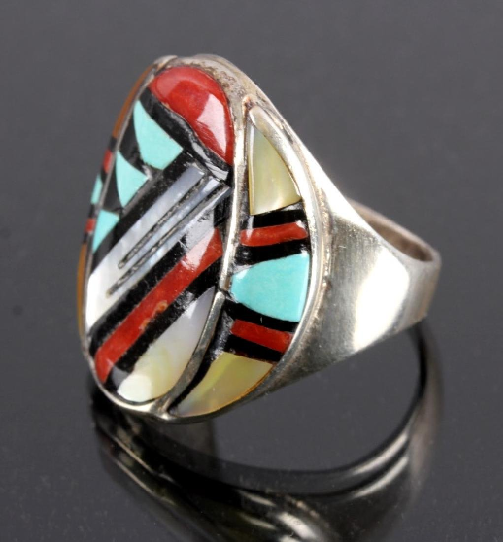 Signed Zuni Sterling Silver Turquoise Mosaic RIng - 2