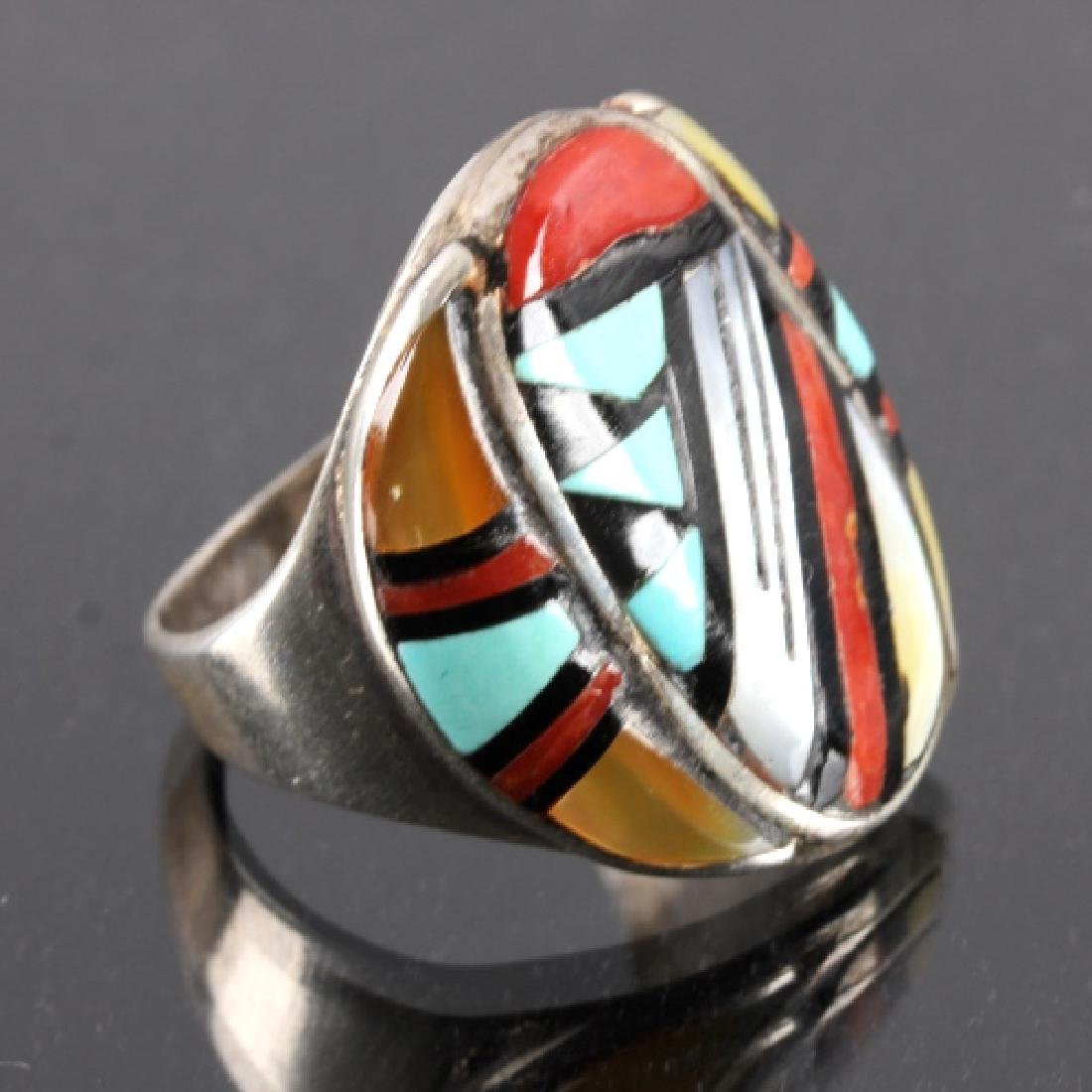 Signed Zuni Sterling Silver Turquoise Mosaic RIng - 3