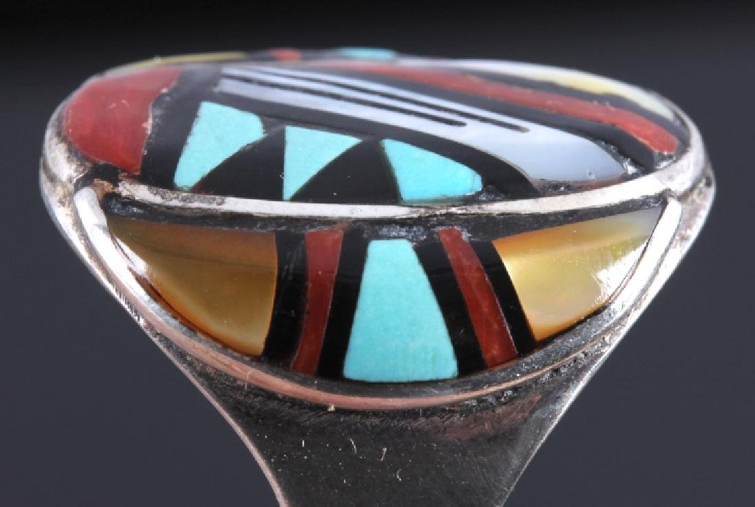 Signed Zuni Sterling Silver Turquoise Mosaic RIng - 5