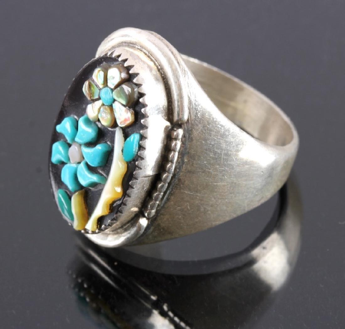 Signed Zuni Sterling Silver Flower Ring - 2