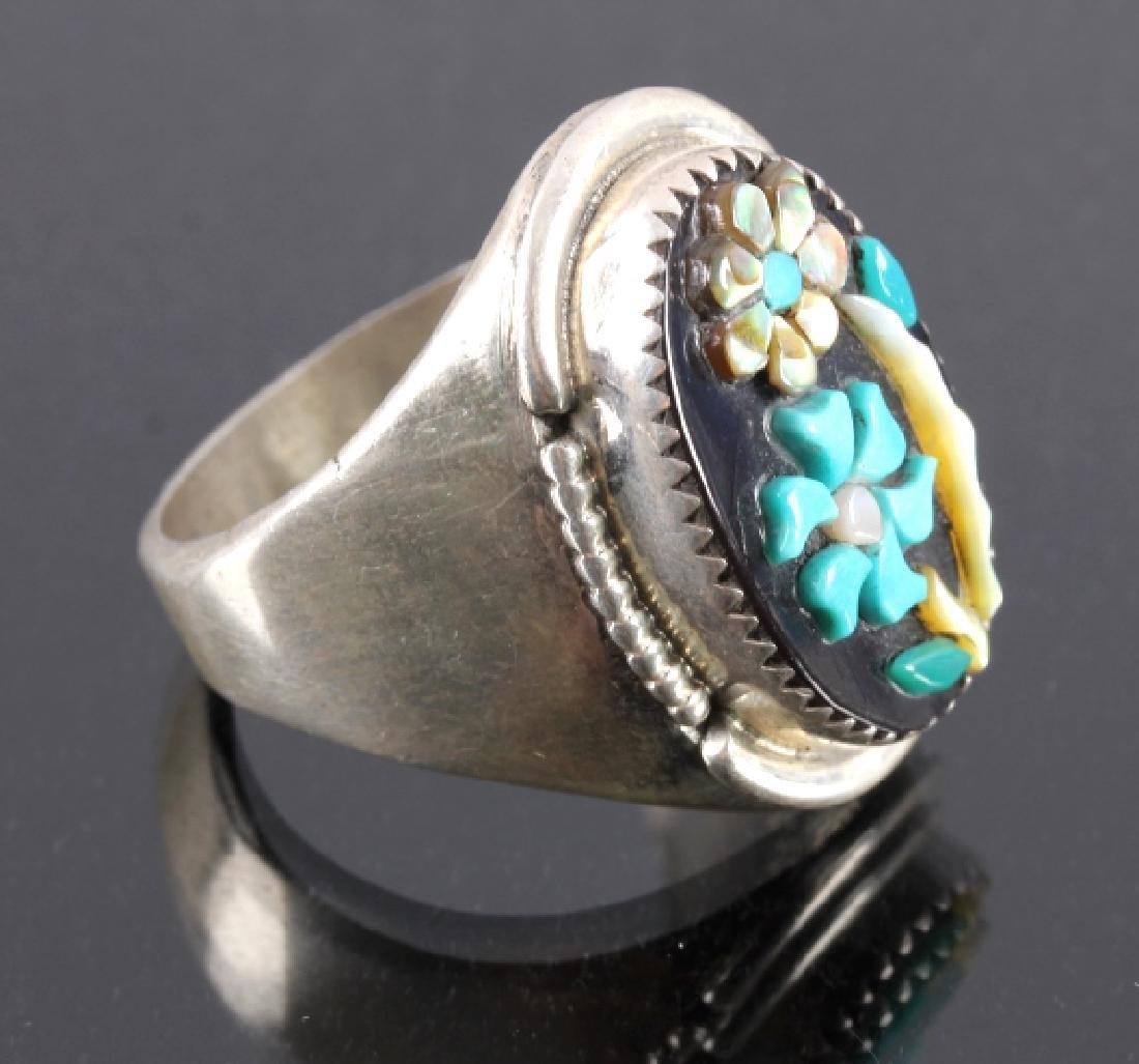 Signed Zuni Sterling Silver Flower Ring - 3