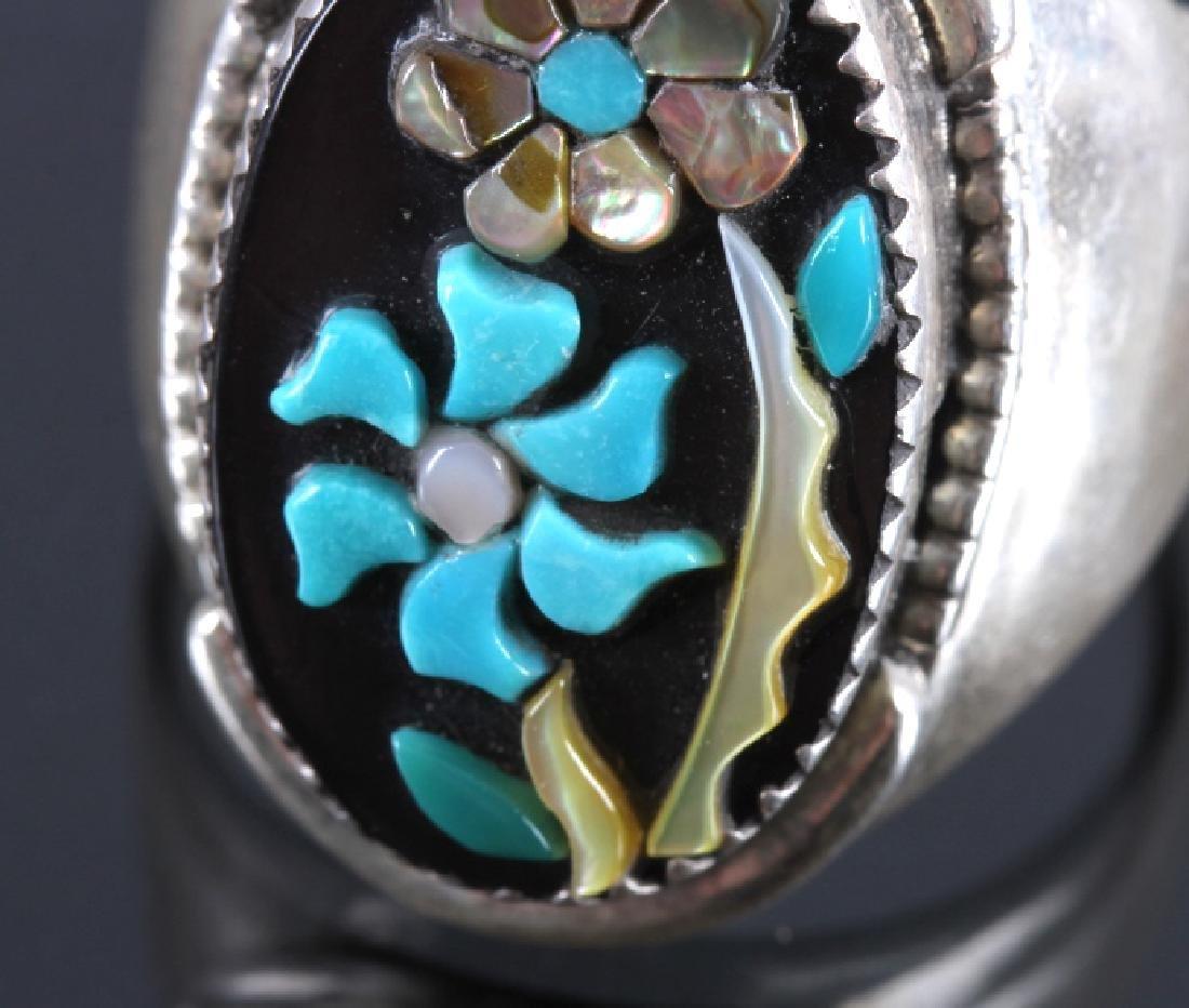 Signed Zuni Sterling Silver Flower Ring - 5