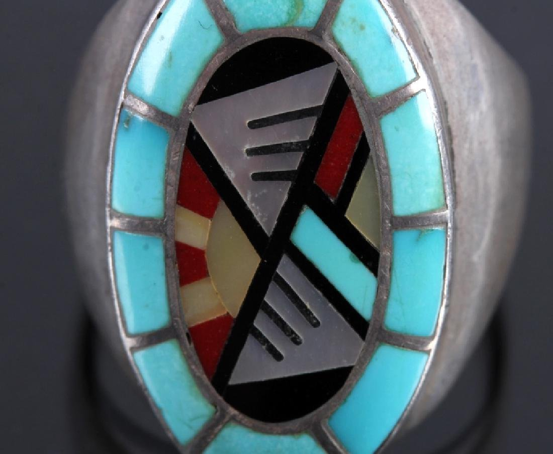 Carolyn Bobelu Zuni Sterling Silver Turquoise Ring - 4