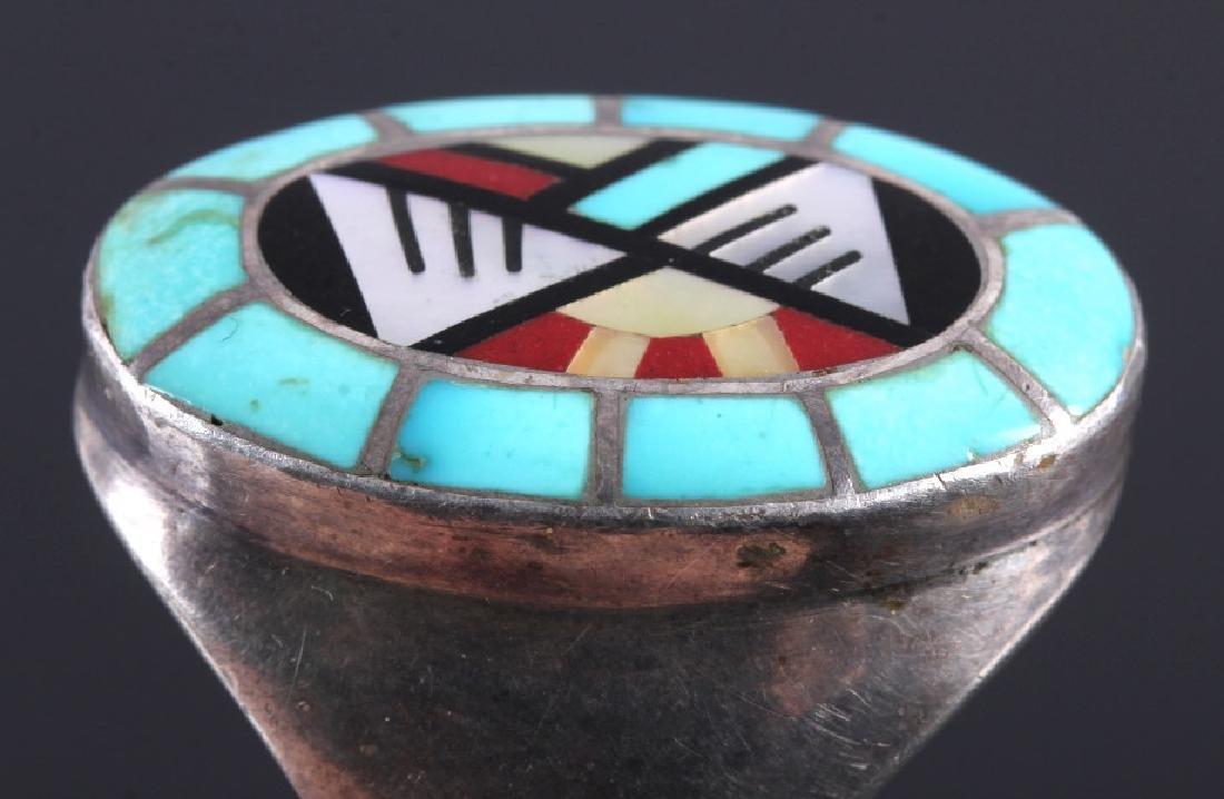 Carolyn Bobelu Zuni Sterling Silver Turquoise Ring - 5