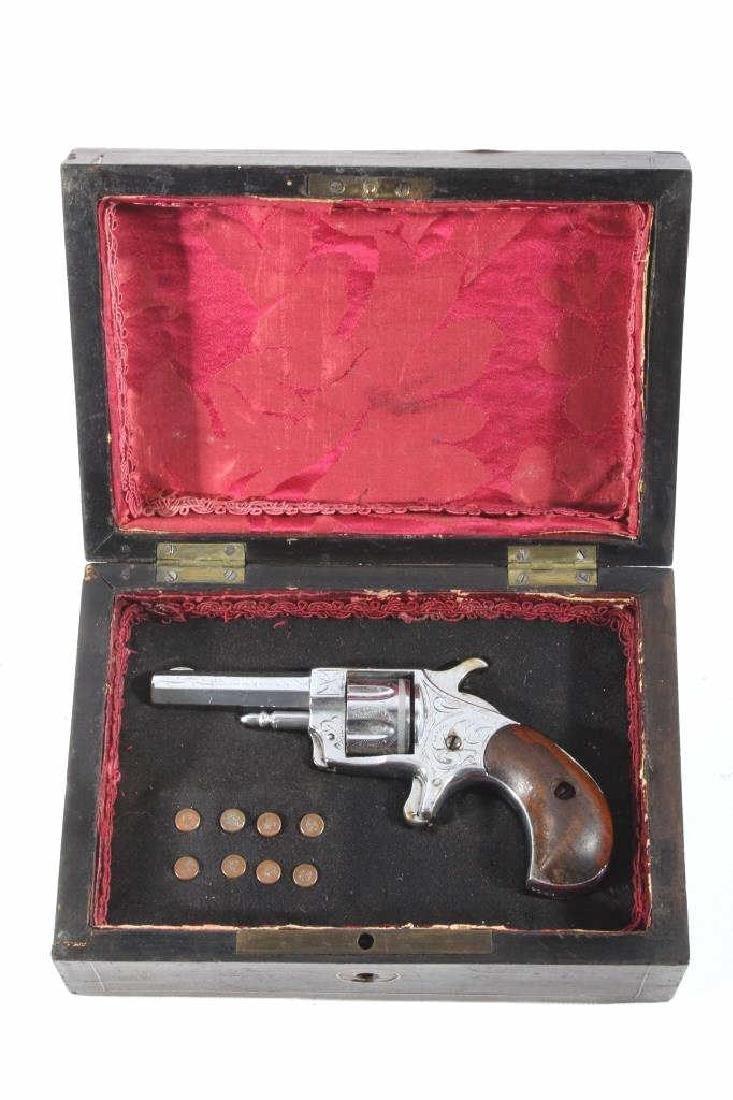 Gambler T&R Rob Roy Engraved Nickel Revolver & Box - 2
