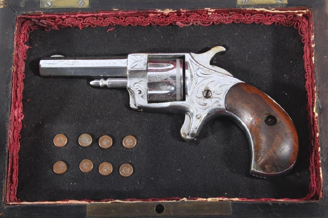 Gambler T&R Rob Roy Engraved Nickel Revolver & Box - 3