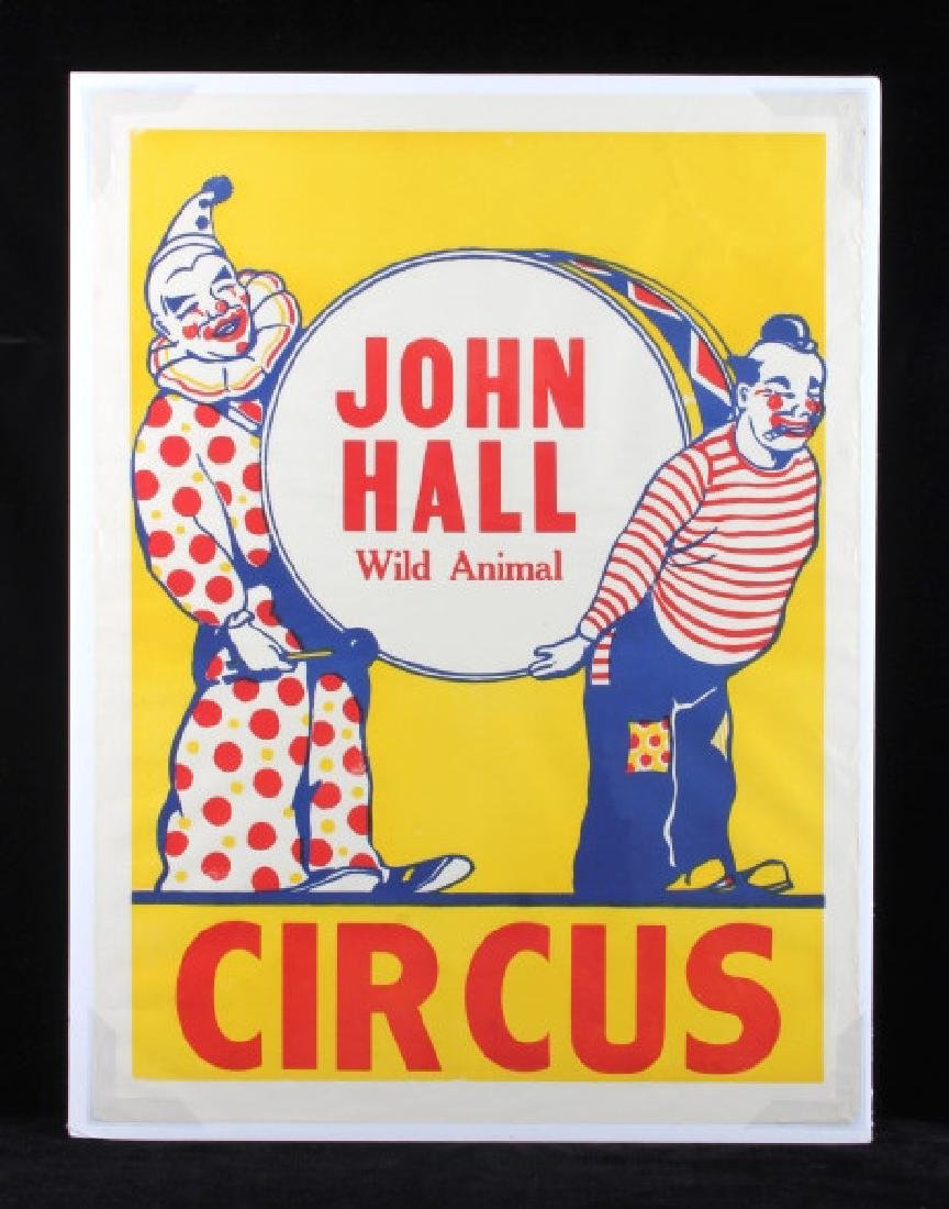 Original John Hall Wild Animal Circus Poster
