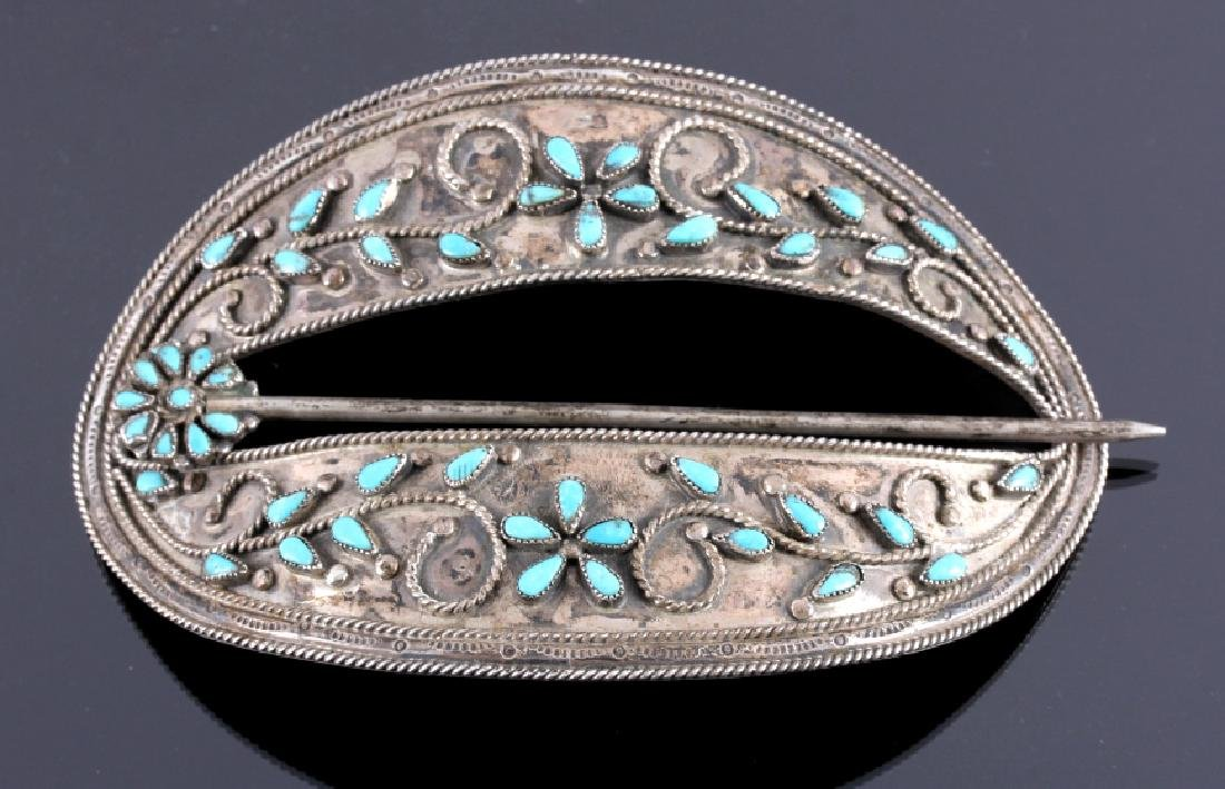 Signed Navajo Sterling Silver Turquoise Barrette