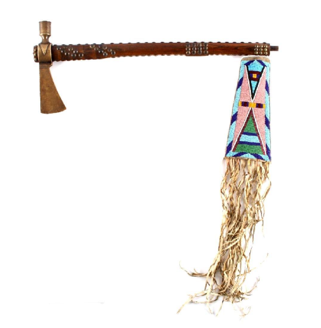 Nez Perce Brass Pipe Tomahawk w/ Beaded Drop c1880