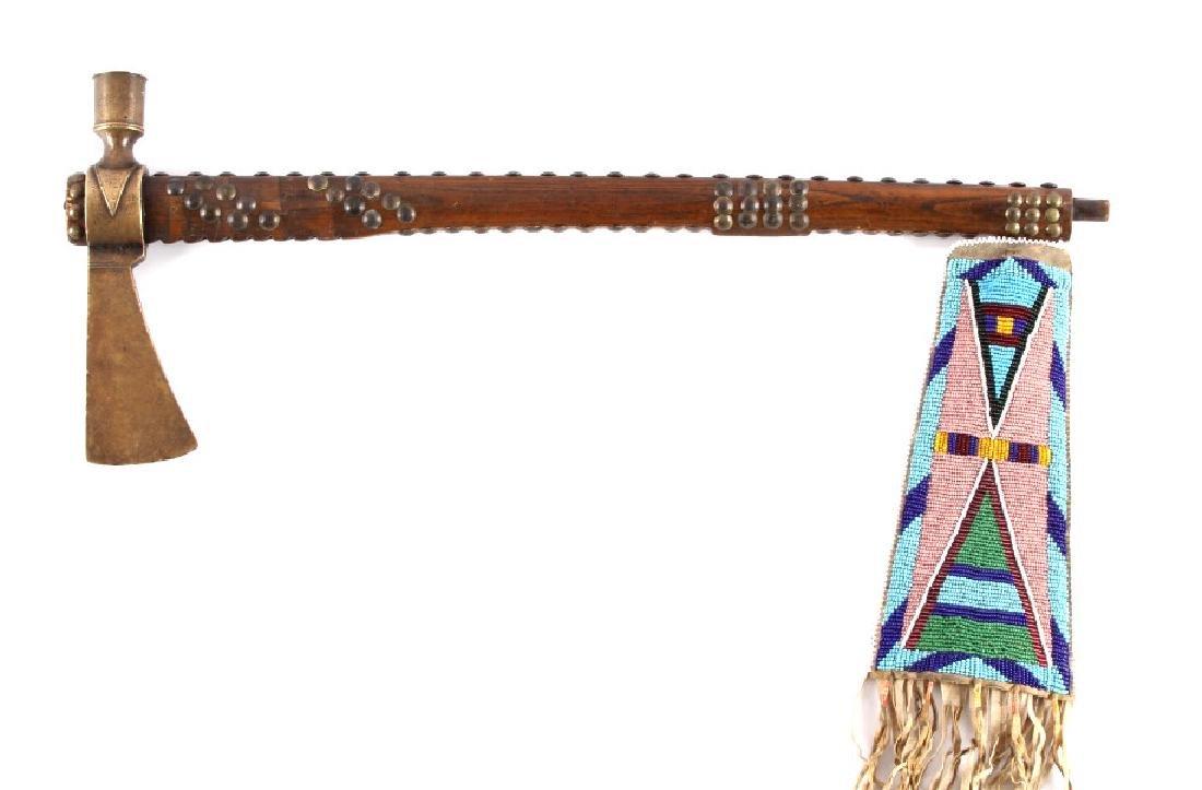 Nez Perce Brass Pipe Tomahawk w/ Beaded Drop c1880 - 2