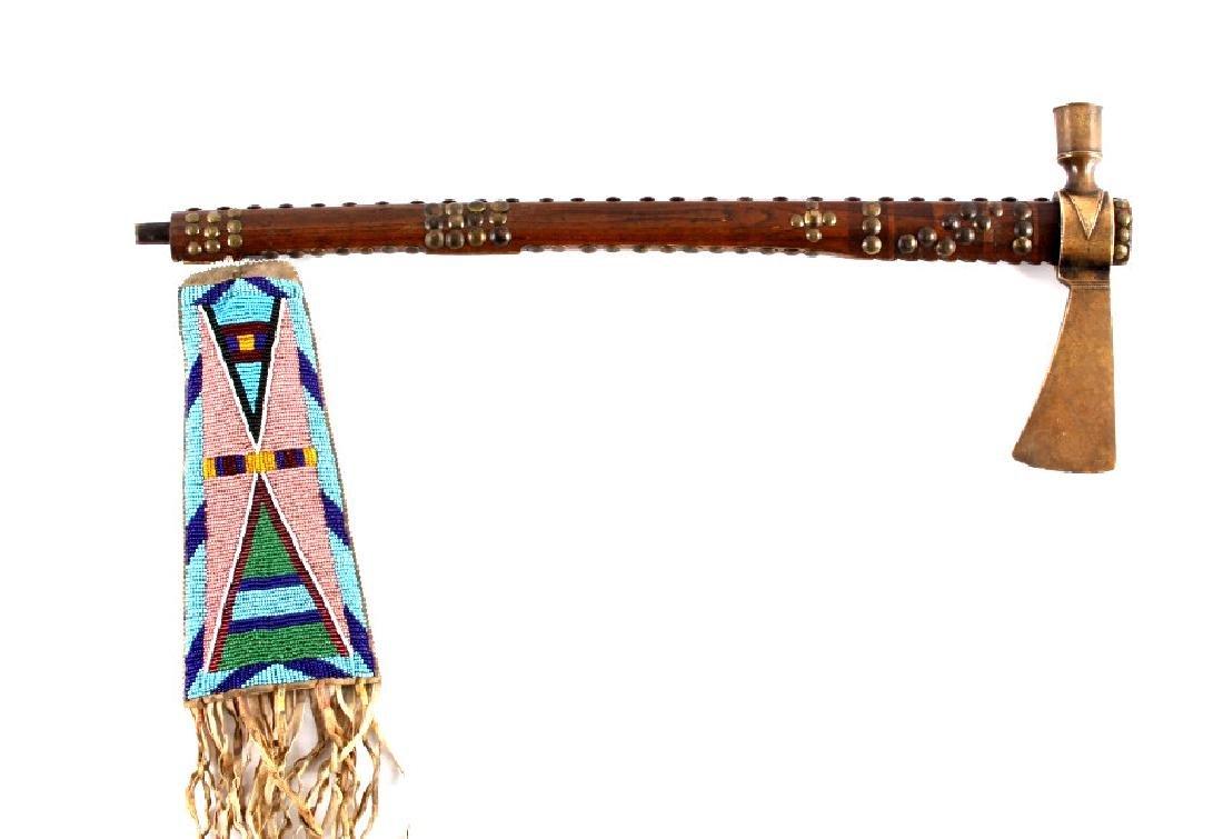 Nez Perce Brass Pipe Tomahawk w/ Beaded Drop c1880 - 4
