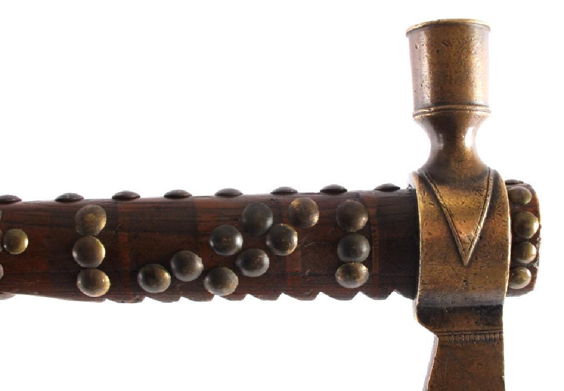 Nez Perce Brass Pipe Tomahawk w/ Beaded Drop c1880 - 7