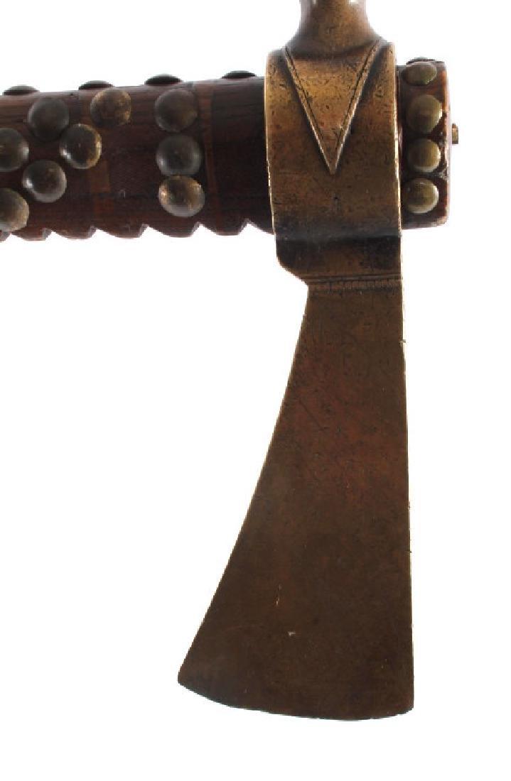 Nez Perce Brass Pipe Tomahawk w/ Beaded Drop c1880 - 9