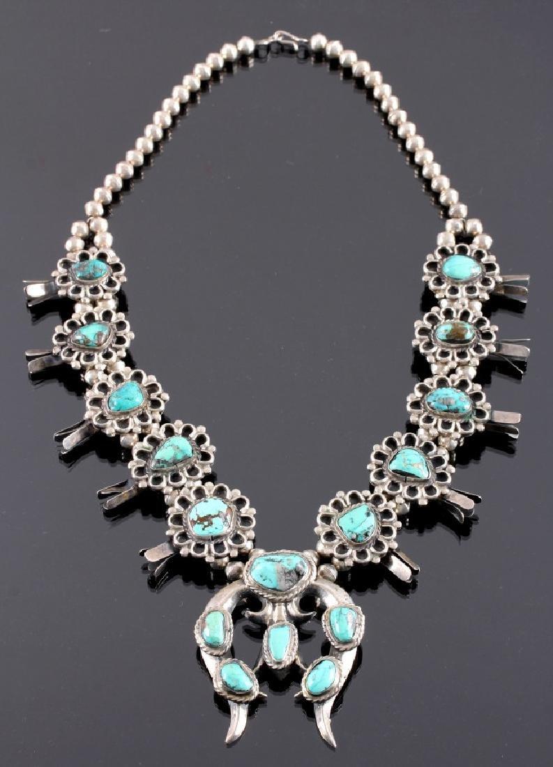 Navajo Sterling Silver Turquoise Squash Blossom - 13