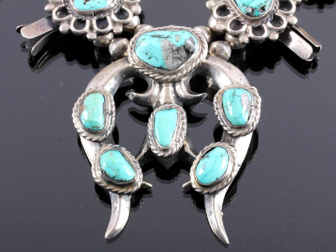 Navajo Sterling Silver Turquoise Squash Blossom - 2