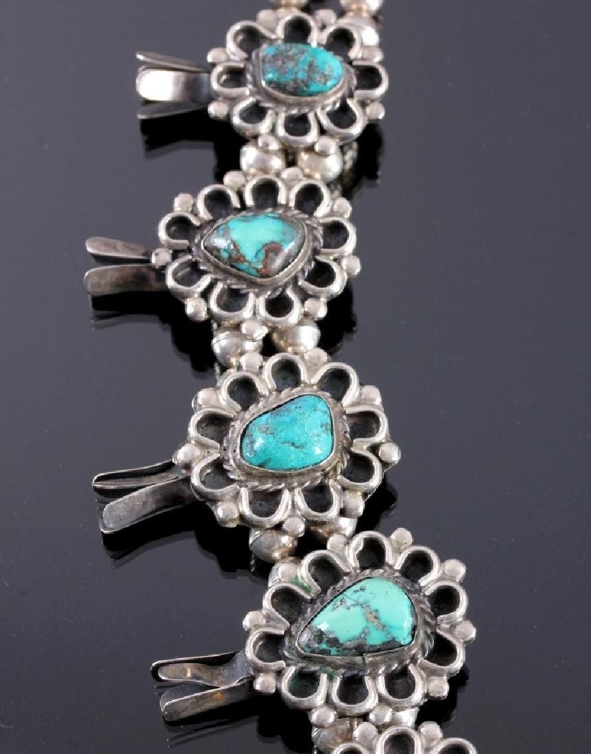 Navajo Sterling Silver Turquoise Squash Blossom - 3