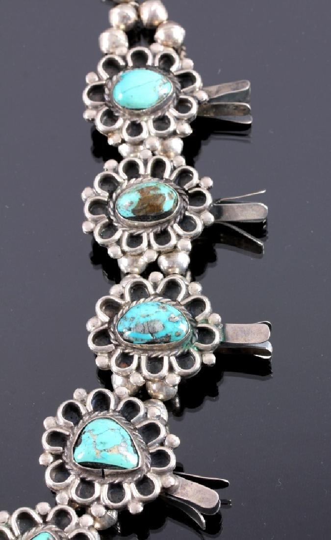 Navajo Sterling Silver Turquoise Squash Blossom - 4