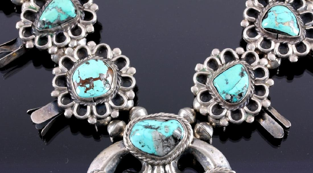 Navajo Sterling Silver Turquoise Squash Blossom - 8