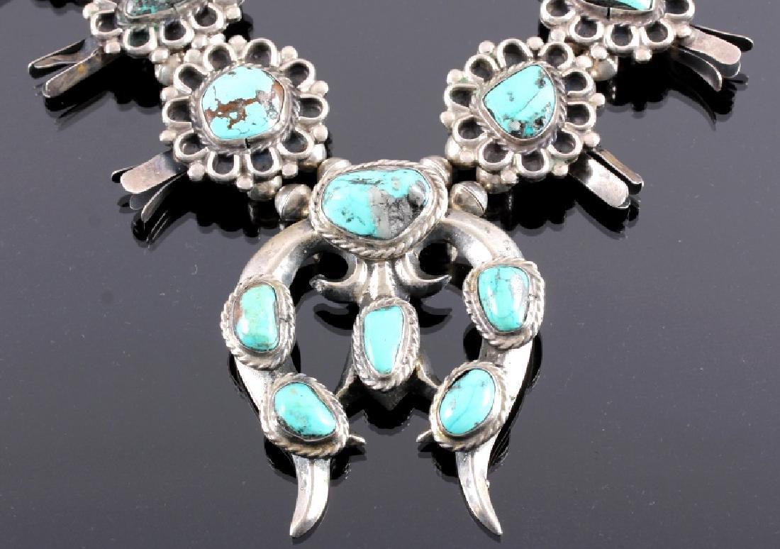 Navajo Sterling Silver Turquoise Squash Blossom - 9