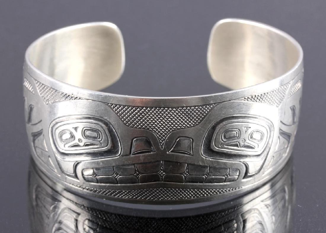 Haida Indian Signed Sterling Silver Cuff - 2