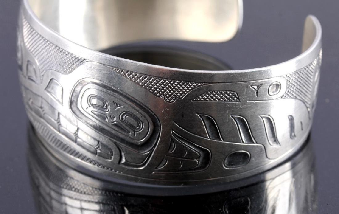 Haida Indian Signed Sterling Silver Cuff - 3
