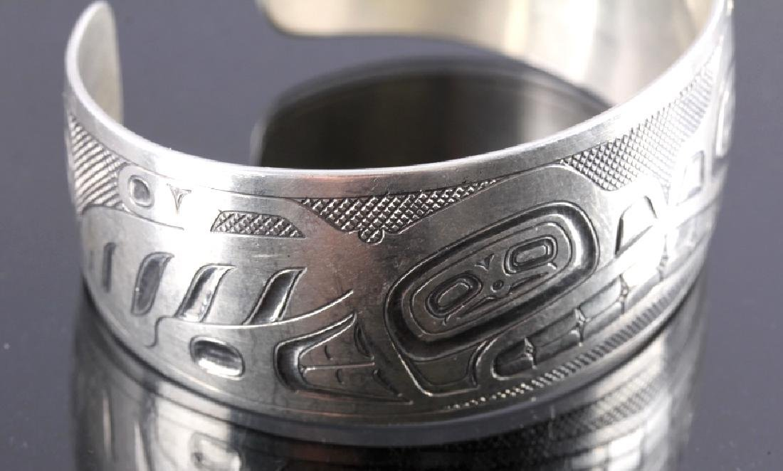Haida Indian Signed Sterling Silver Cuff - 4