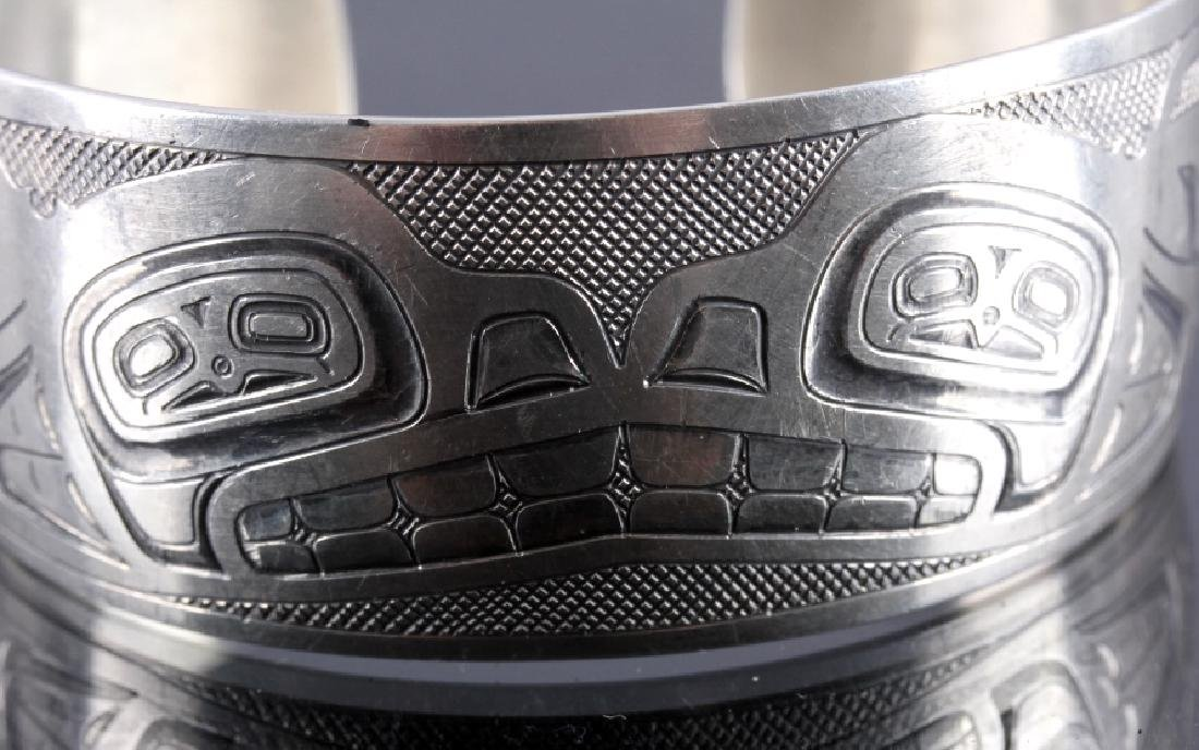 Haida Indian Signed Sterling Silver Cuff - 5