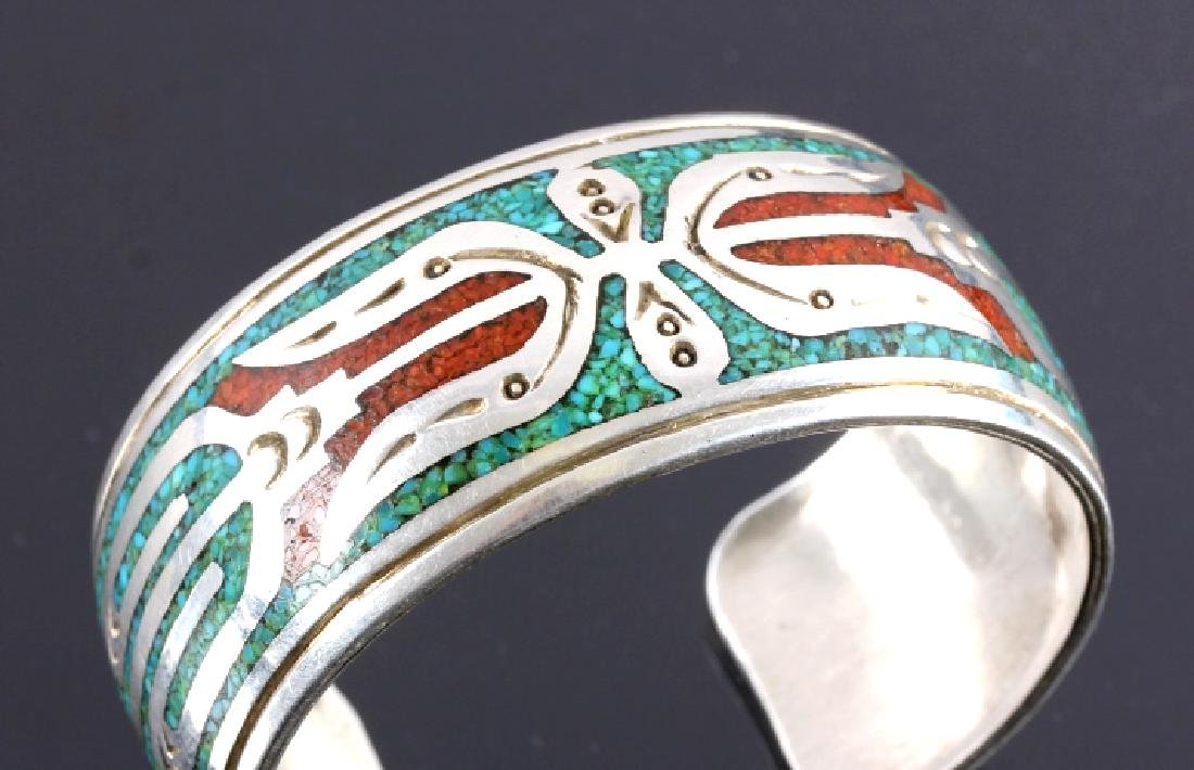 Navajo Signed Sterling Silver Turquoise Coral Cuff - 2