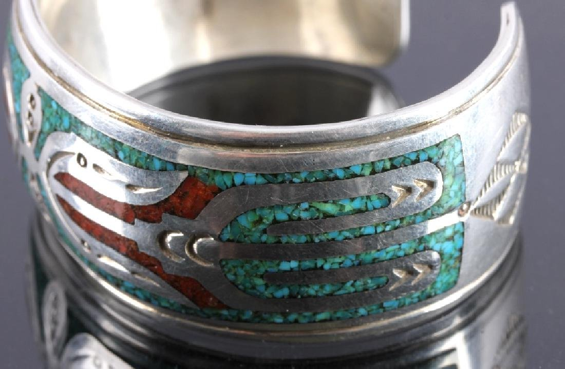 Navajo Signed Sterling Silver Turquoise Coral Cuff - 4