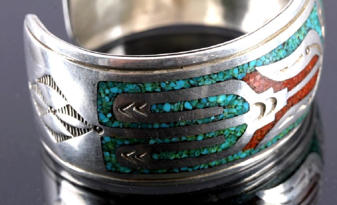 Navajo Signed Sterling Silver Turquoise Coral Cuff - 5