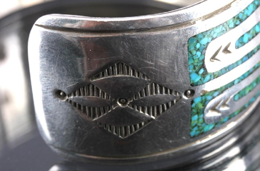 Navajo Signed Sterling Silver Turquoise Coral Cuff - 6
