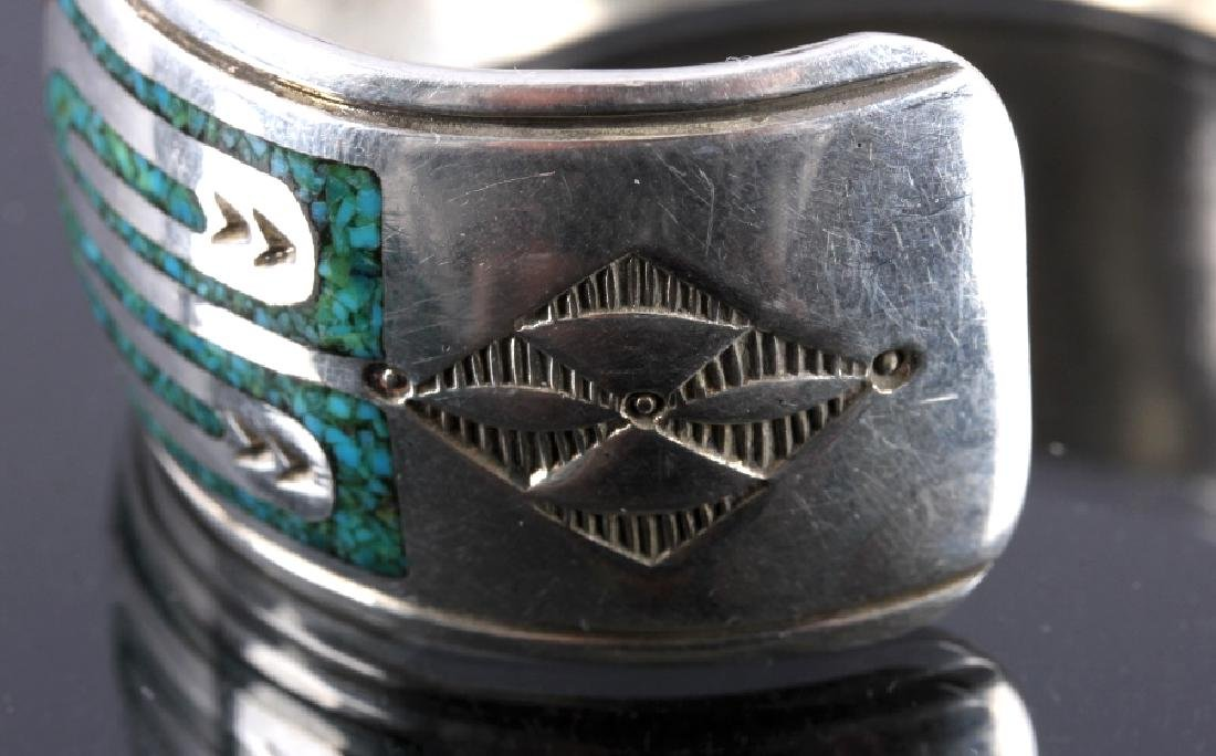 Navajo Signed Sterling Silver Turquoise Coral Cuff - 7