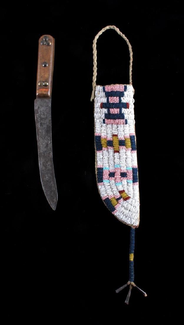 Cheyenne Fully Beaded Sheath & Trade Knife c. 1890