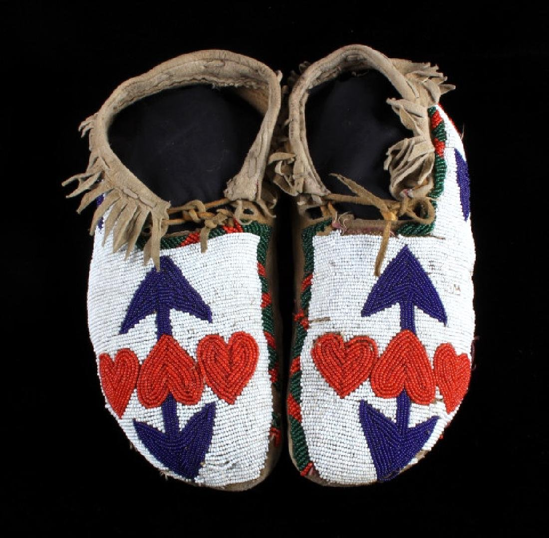 Blackfoot Fully Beaded Moccasins circa 1890-1900