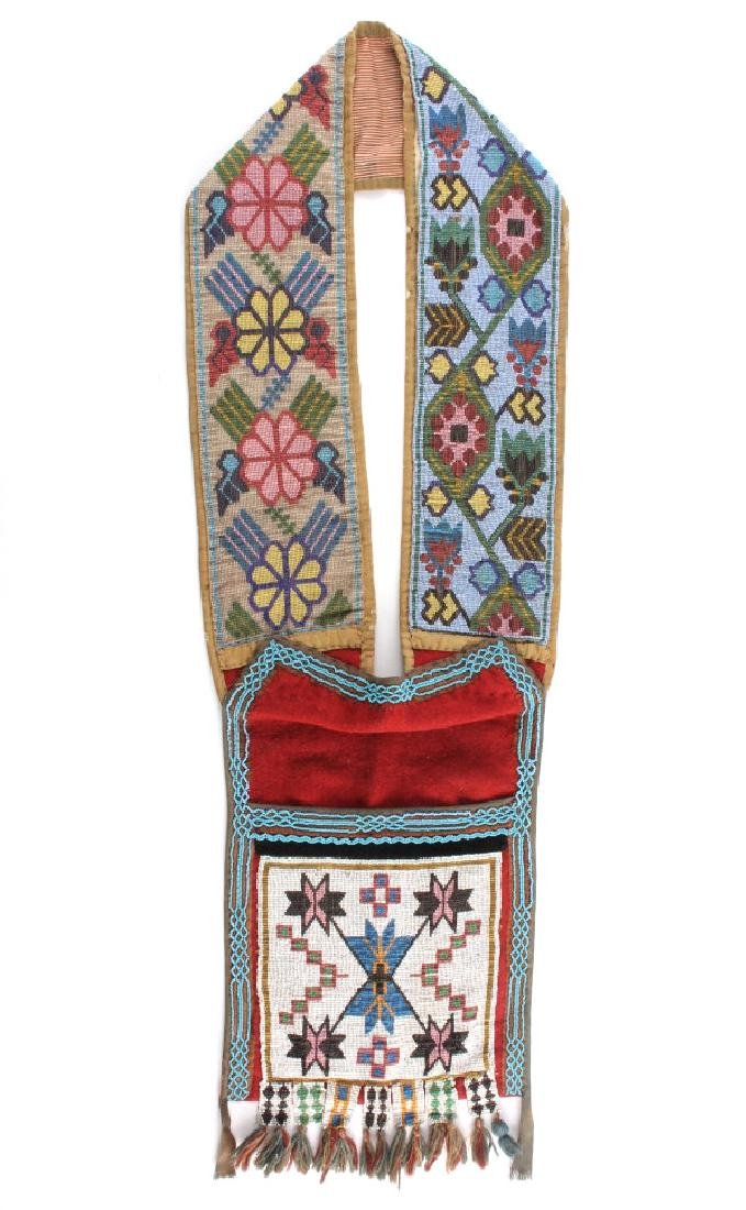 Great Lakes Fully Beaded Bandolier Bag c. 1880-
