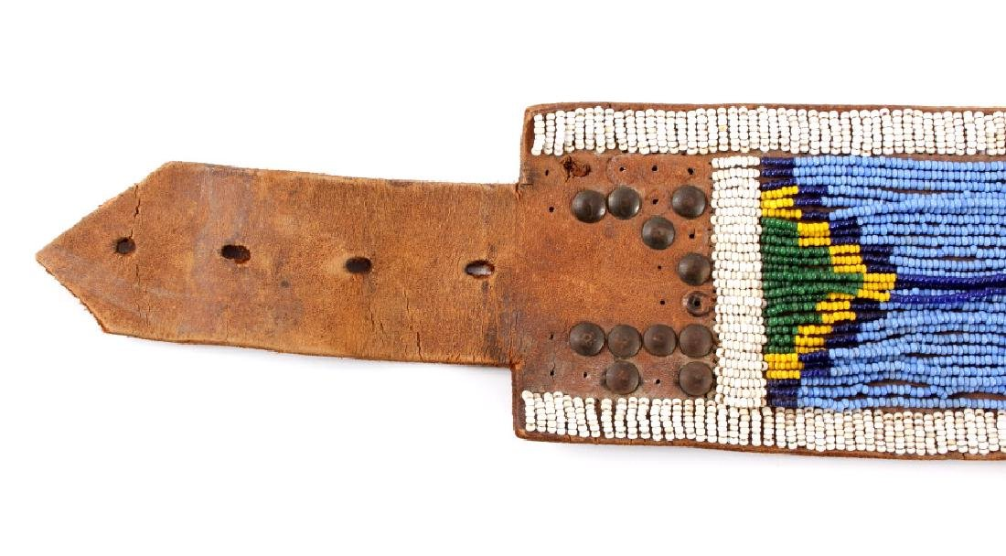 Nez Perce Beaded & Tacked Leather Belt circa 1880- - 10
