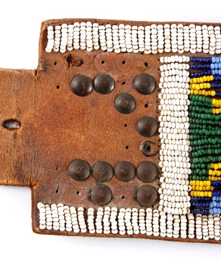 Nez Perce Beaded & Tacked Leather Belt circa 1880- - 11
