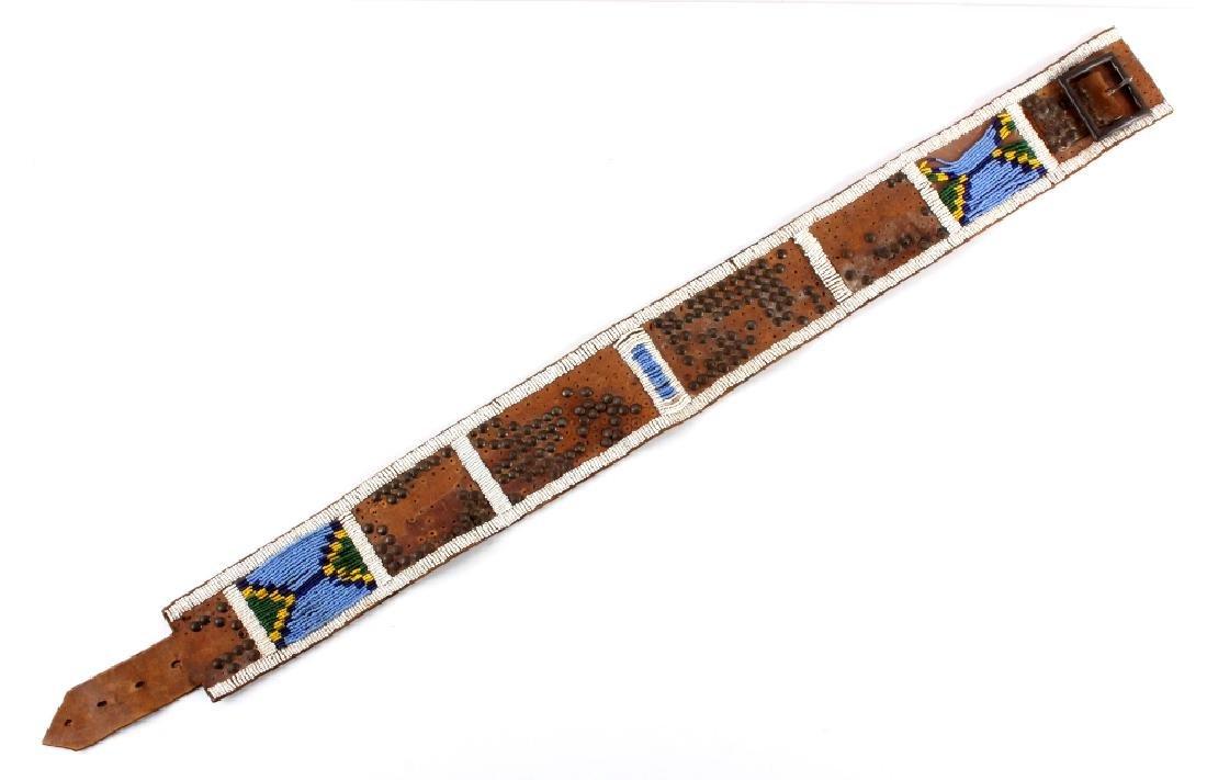 Nez Perce Beaded & Tacked Leather Belt circa 1880-