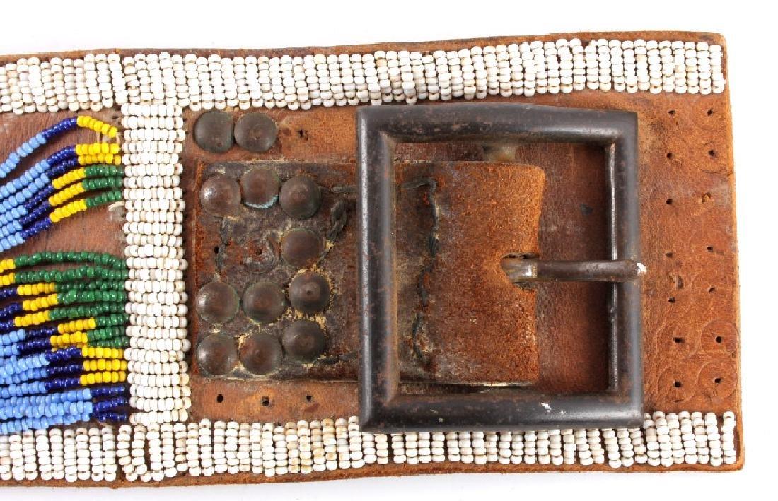 Nez Perce Beaded & Tacked Leather Belt circa 1880- - 3
