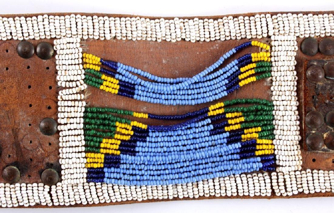 Nez Perce Beaded & Tacked Leather Belt circa 1880- - 4