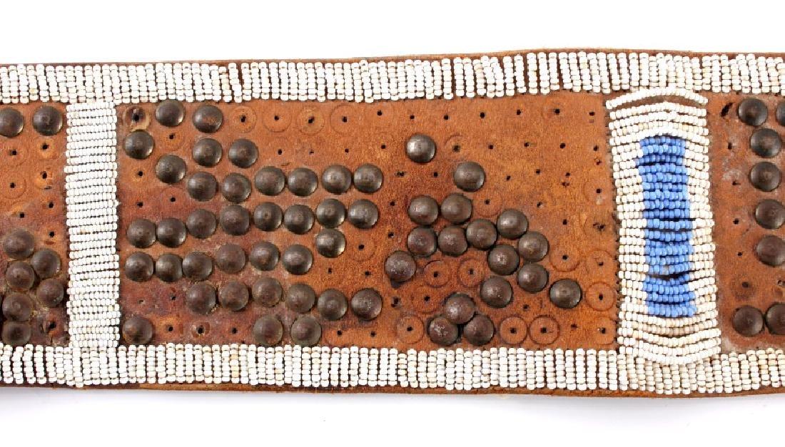 Nez Perce Beaded & Tacked Leather Belt circa 1880- - 6
