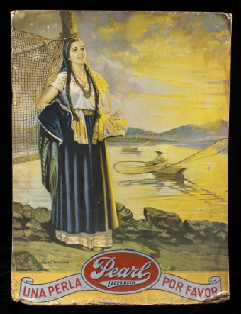 Pearl Lager Beer Lithograph Advertisement c1947-51